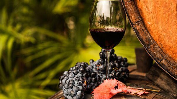 Виноградная лоза и вино в бокале на винодельческом предприятии Массандра в Крыму