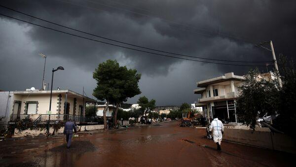 Наводнение, вызванное проливными дождями в Греции. 15 ноября 2017
