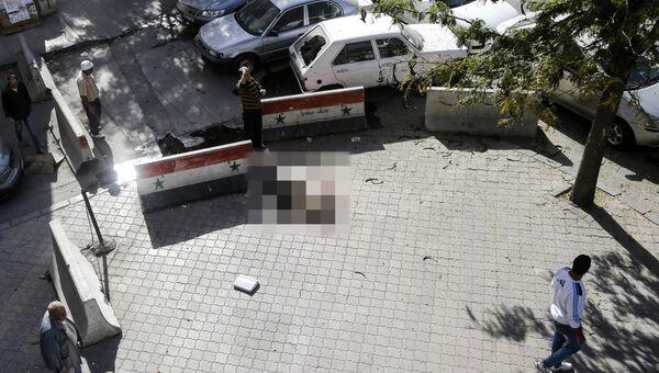 Последствия минометного обстрела Дамаска