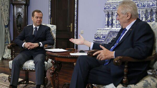 Дмитрий Медведев и президент Чехии Милош Земан во время встречи. 22 ноября 2017