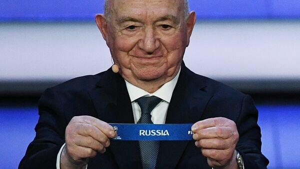 Ассистент жеребьевки Никита Симонян на официальной жеребьевке чемпионата мира по футболу 2018
