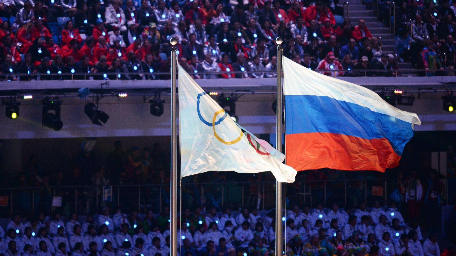 Олимпийский флаг и флаг России - РИА Новости, 1920, 22.04.2021