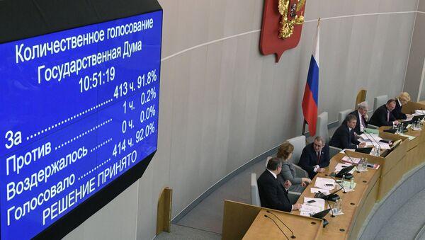 Информационное табло о количественном голосовании депутатов Государственной Думы РФ