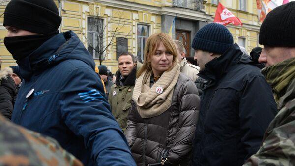 Жена экс-президента Грузии Михаила Саакашвили Сандра Руловс на акции протеста в Киеве. 10 декабря 2017