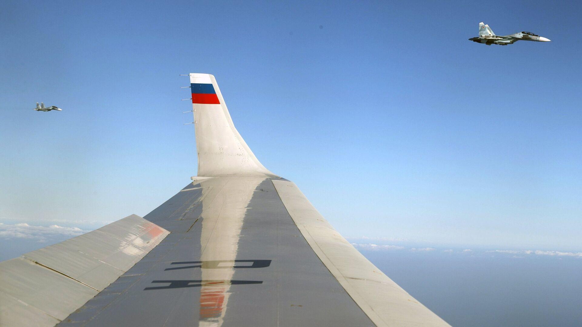 Самолеты Су-30 ВКС РФ сопровождают самолет президента РФ Владимира Путина  в Сирии - РИА Новости, 1920, 11.02.2021
