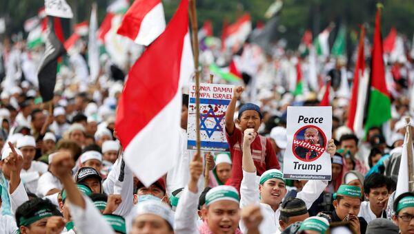 Протесты в Джакарте против решения Трампа по Иерусалиму, 17 декабря 2017 года