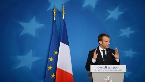 Президент Франции Эммануэль Макрон на пресс-конференции после заседания Совета Европы в Брюсселе