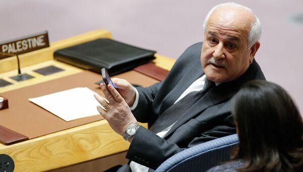 Постоянный наблюдатель Палестины при ООН Рияд Мансур во время заседания Совета Безопасности ООН по ситуации на Ближнем Востоке. 18 декабря 2017