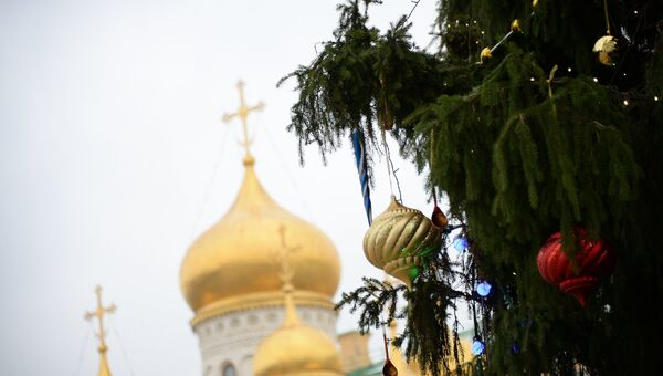 Новогодняя елка на Соборной площади Кремля. 21 декабря 2017