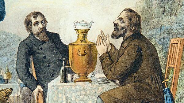 Фрагмент литографии Чаепитие купцов в Москве 1857