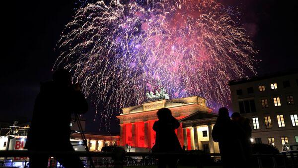 Празднование Нового года в Берлине, Германия. 1 января 2018