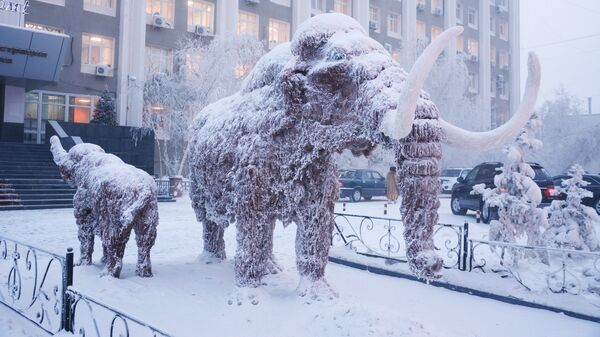 Скульптура мамонта возле здания окружной администрации города Якутска