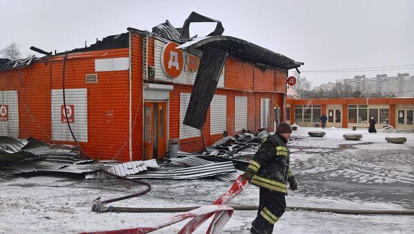 Продовольственный магазин сгорел в центре Истры. 20 января 2018