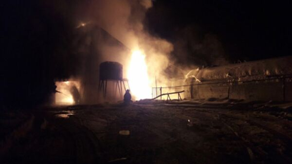 Пожар на котельной в населенном пункте Бердигестях. 27 января 2018