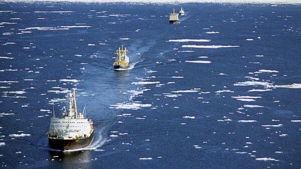 Караван судов в сопровождении ледоколов проходит по Северному морскому пути