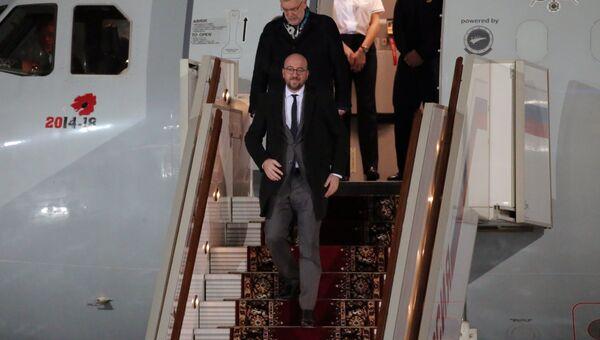 Премьер-министр Бельгии Шарль Мишель, прибывший в РФ с официальным визитом, во время официальной встречи в аэропорту Внуково-2. 29 января 2018