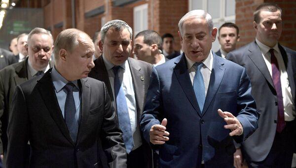 Президент РФ Владимир Путин и премьер-министр Государства Израиль Биньямин Нетаньяху во время мероприятий в Еврейском музее и центре толерантностий