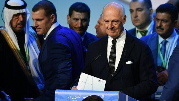 Специальный представитель Генерального секретаря ООН по Сирии Стаффан де Мистура на конгрессе сирийского национального диалога в Сочи