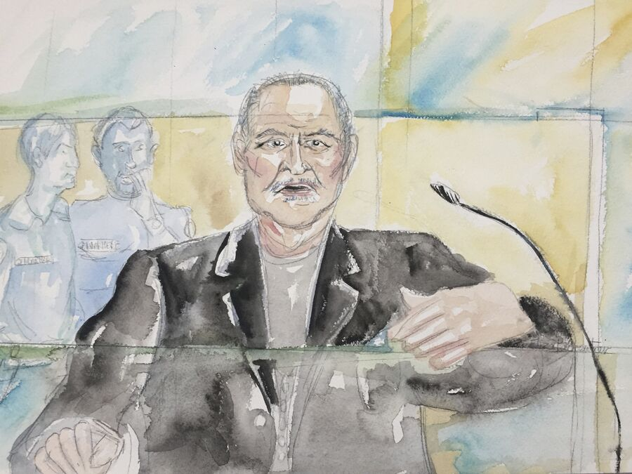 Международный террорист Ильич Рамирес Санчес на рисунке из зала суда в Париже. 28 марта 2017 года