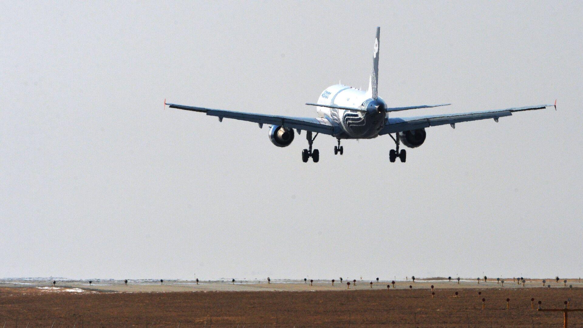 Самолет Airbus A319 авиакомпании Аврора садится в аэропорту Владивостока - РИА Новости, 1920, 18.01.2021