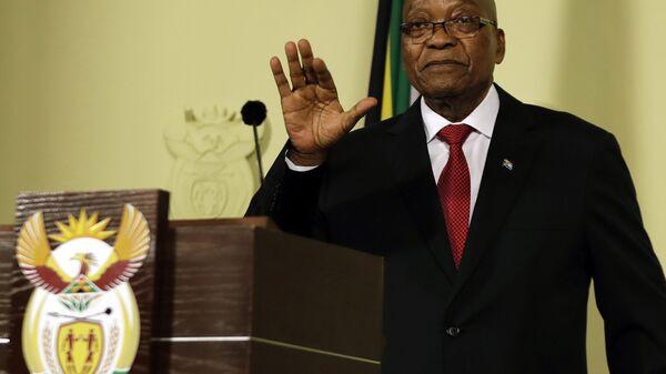 Президент Южно-Африканской Республики Джейкоб Зума во время обращения к нации в Претории, Южная Африка. 14 февраля 2018