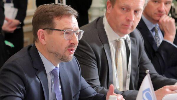 Генеральный секретарь ОБСЕ Томас Гремингер во время встречи с министром иностранных дел РФ Сергеем Лавровым на полях Мюнхенской конференции по безопасности. 16 февраля 2018