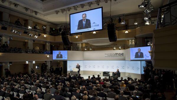 Министр иностранных дел РФ Сергей Лавров во время Мюнхенской конференции по безопасности. 17 февраля 2018 года