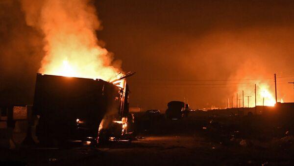 Последствия удара турецкой армии по гуманитарному конвою под Африном, Сирия. 22 февраля 2018
