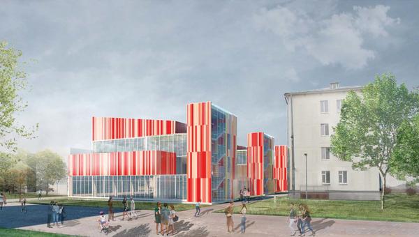 Визуализация проекта спорткомплекса училища олимпийского резерва в Восточном Измайлове
