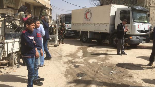 Гуманитарный конвой Красного полумесяца в Сирии. Архивное фото