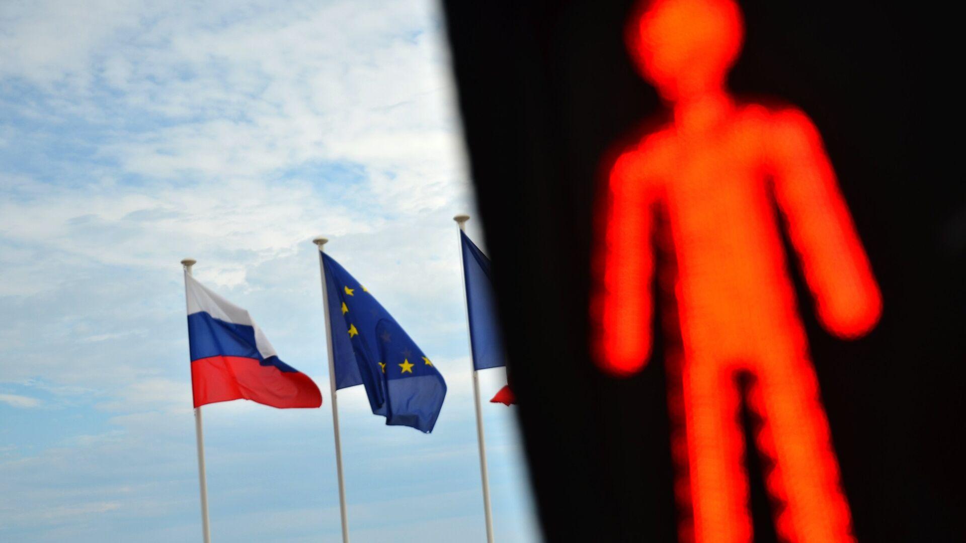 Флаги России и ЕС - РИА Новости, 1920, 19.02.2021