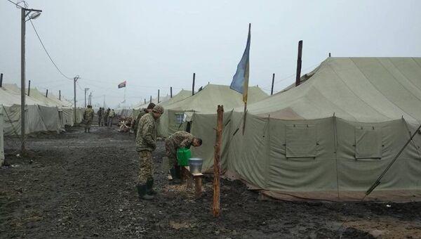 Палаточный городок 56-й отдельной мотопехотной бригады ВСУ