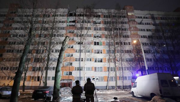 Жилой дом на улице Народного Ополчения в Санкт-Петербурге, где произошел взрыв газа. 13 марта 2018