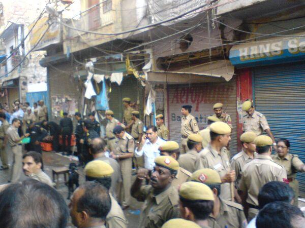 Индийская полиция на месте взрыва. Архив