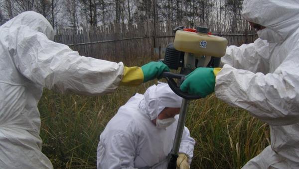 Ученые отбирают пробы почвы для анализа на споры сибирской язвы. Архивное фото