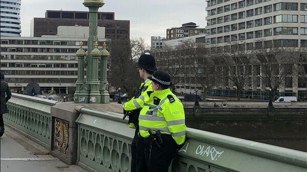 Полицейские на Вестминстерском мосту в годовщину трагических событий в Лондоне. 22 марта 2018