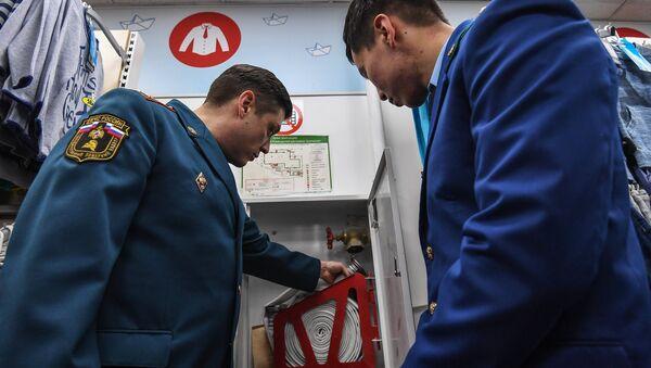 Проверка пожарной безопасности в торгово-развлекательном центре Серебряный дом в Москве. 28 марта 2018