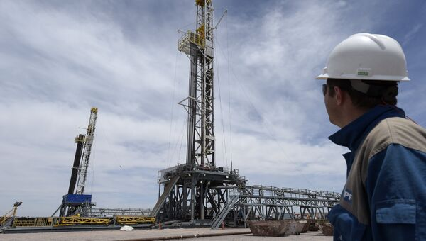Drilling rigs at Vaca Muerta shale oil field in Argentina