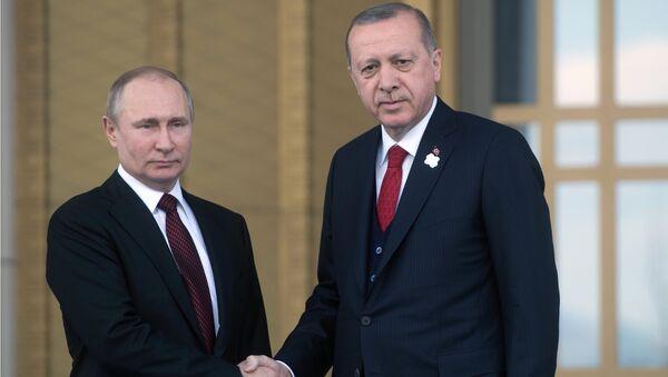 Президент РФ Владимир Путин и президент Турции Тайип Эрдоган. Архивное фото