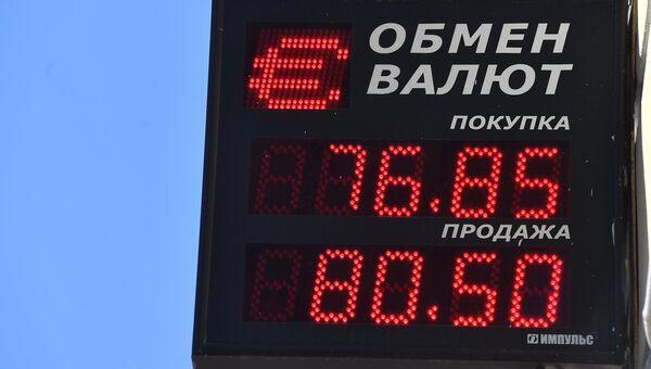 Информационное табло курса обмена евро в Москве