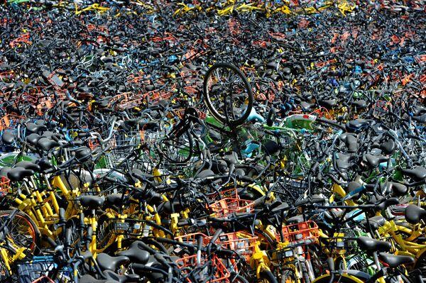 Прокат велосипедов в Ухане, Китай