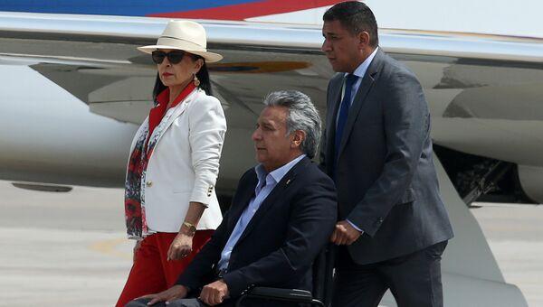 Президент Эквадора Ленин Морено в аэропорте Лимы в Перу в преддверии саммита Америк. 12 апреля 2018