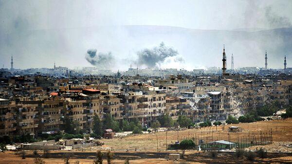 Столкновения сирийской армии и боевиков террористических организаций к югу от Дамаска. Архивное фото