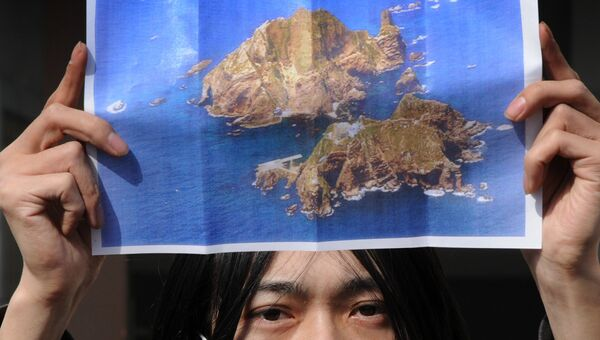 Активист с плакатом островов Докдо (Такэсима) во время протестной акции на улице Токио. 22 января 2013