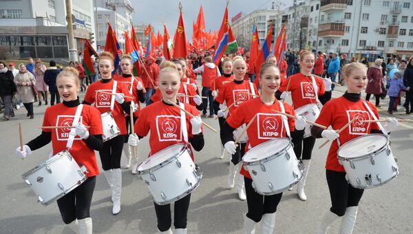 Участницы первомайской демонстрации фракции КПРФ в Екатеринбурге