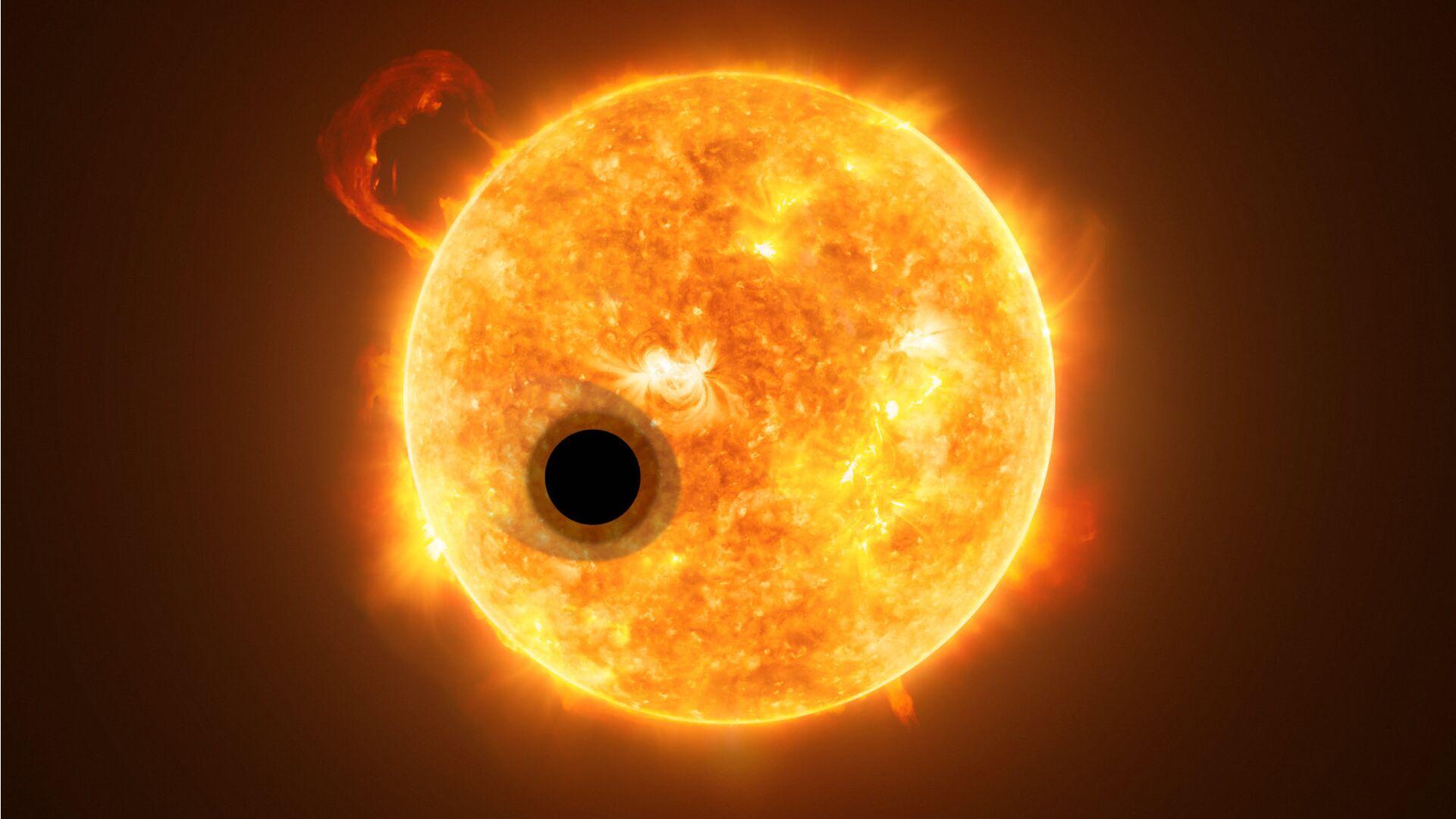 Планета WASP-107b на фоне материнской звезды - РИА Новости, 1920, 18.01.2021