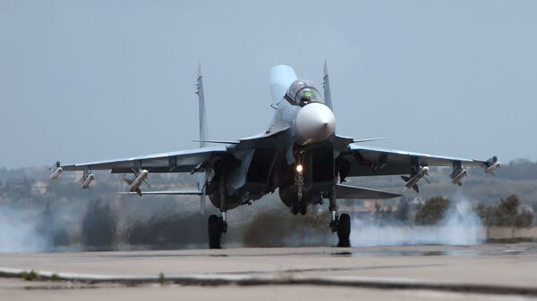 Истребитель Су-30СМ на авиабазе Хмеймим
