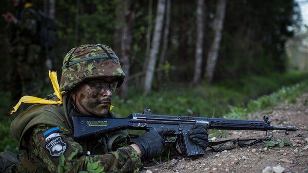 Солдат эстонской армии во время учений. Архивное фото