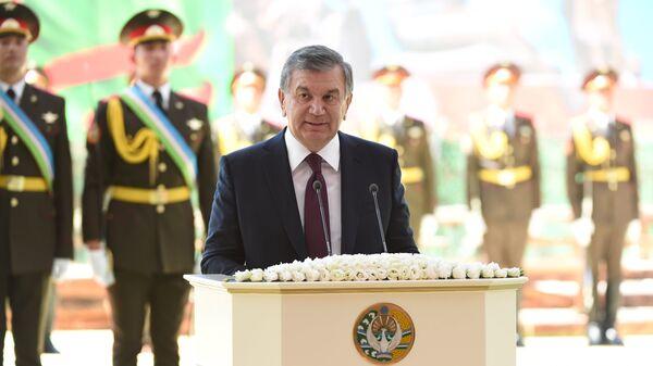 Президент Узбекистана Шавкат Мирзиеев выступает на праздничных мероприятиях в Ташкенте. 9 мая 2018