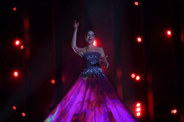 Участница из Эстонии Элина Нечаева в финале конкурса Евровидение. 12 мая 2018